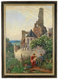 die heilige familie rastet bei einer burgruine by franz bilko