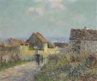 la charette dans le village by gustave loiseau