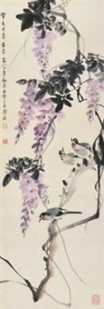 花鸟 立轴 设色纸本 by zhang zhengyin