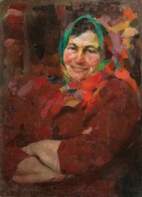 weib mit grünem kopftuch by abram efimovich arkhipov