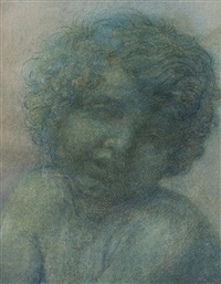 tete de cupidon (study in the style of peter paul rubens) by alphonse legros