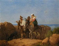 italiener und zwei frauen mit kind auf mauleseln by peter heinrich lambert von hess