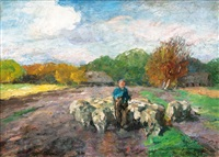 shepherd with flock by thomas herbst