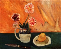 still life - flowers in a jug with pear and knife by hazel guggenheim mckinley