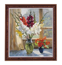 gladioli in front of a window by mikhail ivanovich mikhailov