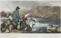 fishing: gaffing a salmon (engraved by w.h. simmons) by robert ansdell