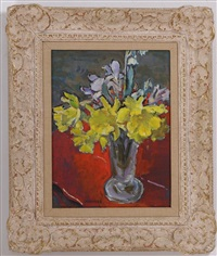 jonquils on red table by clarence hinkle