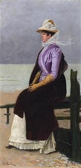 elegante dame, am strand sitzend by paul emile antony morlon