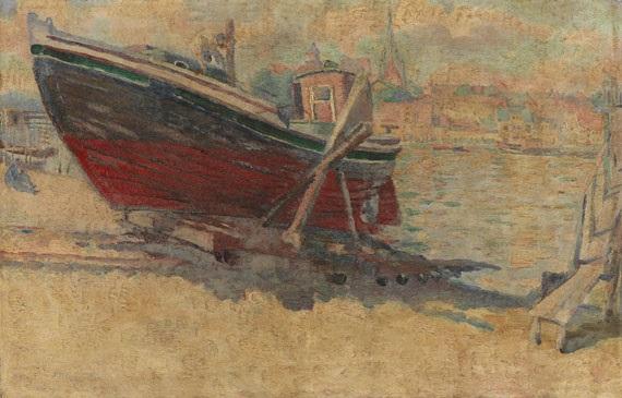 flensburg fischerhafen das frisch gestrichene boot by conrad felixmüller