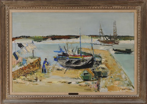 britanny beach and boats by yolande ardisonne