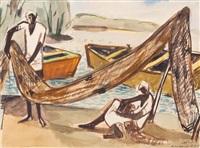 les pêcheurs sur la plage by ismael al-sheikhly