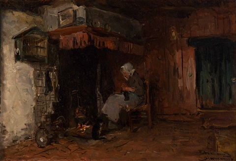 knitting by the fire by bernardus johannes blommers
