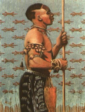 guerrier africain de profil by christian libessart