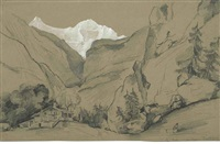 the jungfrau, switzerland (sketch) (+ 8 others; 9 works) by auguste borget