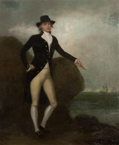 portrait of a naval captain believed to be anthony thomas swinburne rn of hms miranda full length standing his hand resting on a rock shipping in the distance by richard livesay