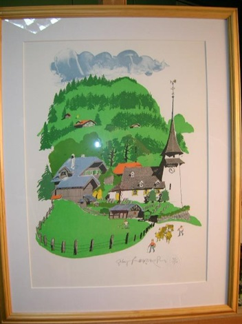 gsteig view in switzerland by paul hogarth