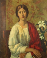 seated woman with a red shawl by ivan g. olinsky