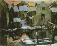 besneeuwde huizen aan waterkant by jozef van hooste