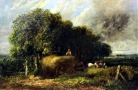 landscape with harvest wagon drawn by two horses (after david cox) by british school (19)