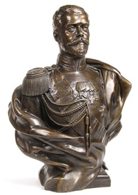 bust of czar nicholas ii, after the severs model by leopold bernhard bernstamm