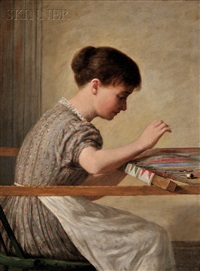 girl quilting by enoch wood perry