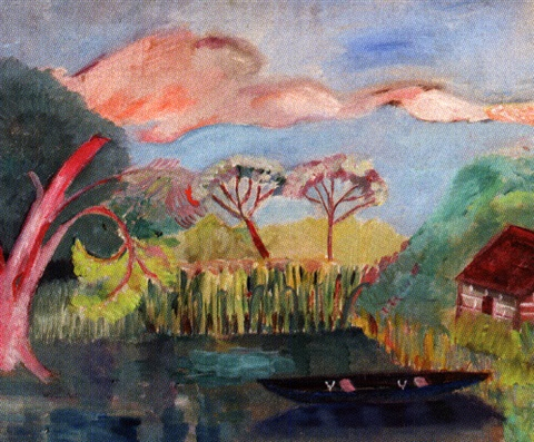lily pond with boat and one house by hazel guggenheim mckinley