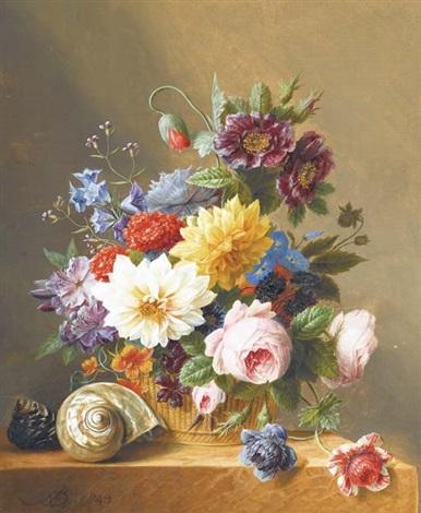 un bouquet de coquelicots de clochettes de roses et de dahlias dans un panier avec deux coquillages sur un entablement en marbre by arnoldus bloemers