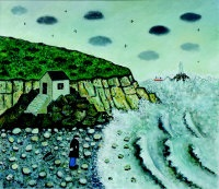 rough sea at godrevy by joan gillchrest