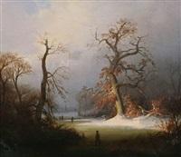 paysage en hiver animé de patineurs à glace by willem linnig the elder