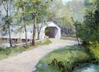 landscape with covered bridge by george a. newman