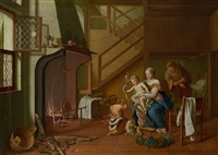 die hl. familie mit johannesknaben in der stube am herdfeuer by pieter jacob horemans