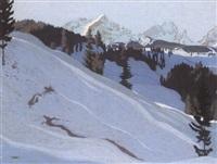 winterliche gebirgslandschaft by otto bauriedl