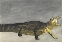 crocodile sur fond gris by léon spilliaert