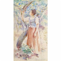 girl in the orchard by theodore robinson