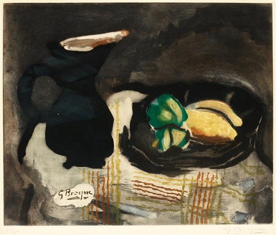 pichet noir et citrones by georges braque