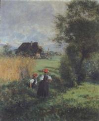 rastende gutacherinnen, im hintergrund ein schwarzwalddorf by wilhelm g. hasemann