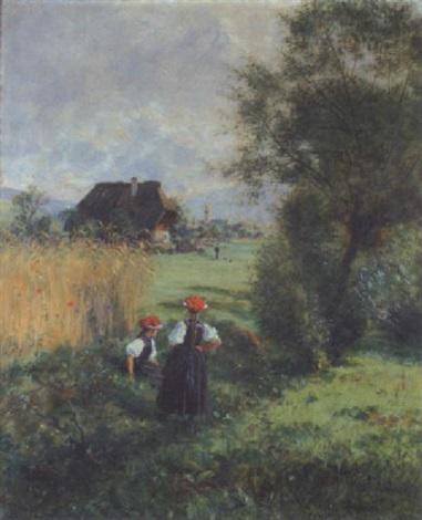 rastende gutacherinnen im hintergrund ein schwarzwalddorf by wilhelm g hasemann