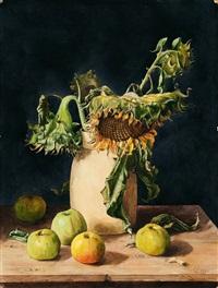 stilleben mit sonnenblume und äpfeln by erich lindenau