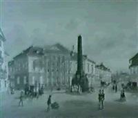 karlsruhe - rondellplatz und verfassungssaule by caspar obach