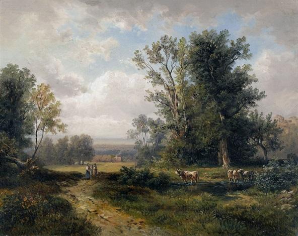 sommerliche landschaft mit bäuerinnen und kühen by jules breton