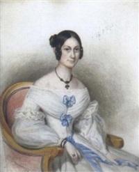 bildnis einer dame in weißem kleid, in einem lehnstuhl sitzend by ignaz rungaldier