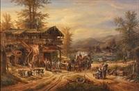 tranquil village scene by janez kenzer