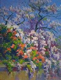 vue du jardin, magnolias et glycines by michel frechon