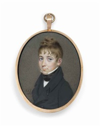 a boy, in black coat, waistcoat and stock, white shirt by john smart the younger