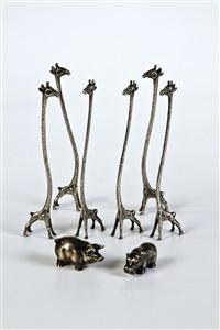 schwein, nilpferd und champagnerrührer in form von giraffen (set of 8) by julius alexandrowitsch rappoport