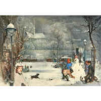 children playing in the snow by antal jancsek