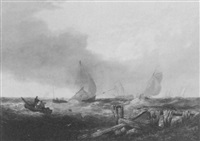 fishing vessels in a rough sea by william chambers