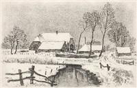 gehöft im winter by alfred hesse