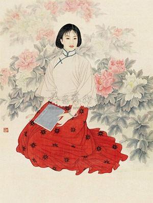 花与少女 (figure) by chen jing