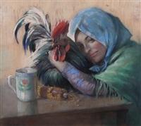 giovane contadina con gallo by eugenio scorzelli